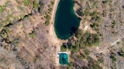 """Aerial View of In the Woods - The surrounding property and cabin are a real treat for anybody wanting to get away from the pressures and demands of """"real life"""""""