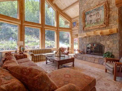 Photo for NEW LISTING! Spacious log home w/fireplace, near town, yet remote on 71 acres