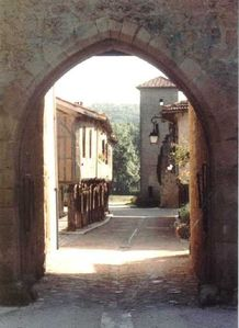 Medieval heart of Tillac through archway