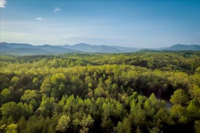 Drone view of the surrounding Blue Ridge Mountains