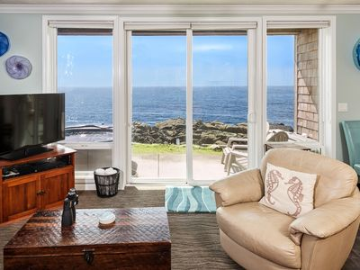 Photo for Oceanfront, Private Hot Tub, Luxury, 180 Views, Crashing Waves & Whale Watching