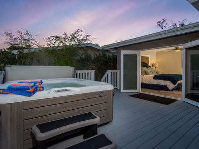 Photo for NEW LISTING! Contemporary home w/game room, private hot tub, 1/2 mile to beach
