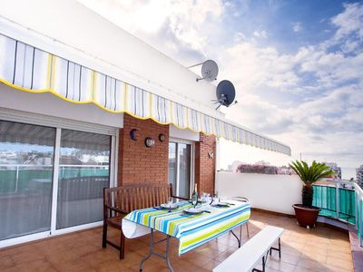 Photo for Pineda De Mar: Penthouse 6, terrace overlooking beach and mountains. Free WiFi