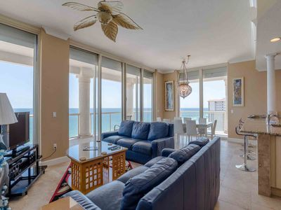 Photo for Gorgeous Beachfront Condo with Extra Large, Corner Balcony. Free Beach Service and Private Grill!