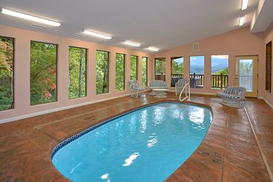 Beautiful Private Indoor Pool - Spacious, private heated pool with mountain views, pool room furnishings, and half bath room for your ultimate getaway to Gatlinburg!
