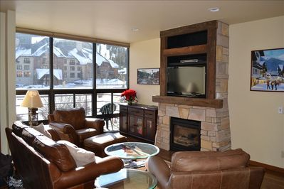 Family Room with New Fireplace and terrific views of Copper Mountain