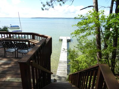 Private dock for this cottage, down stairs fr. deck. Clear, shallow lake bottom.