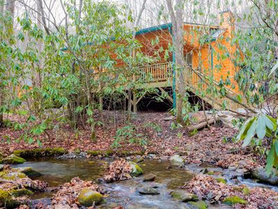 Photo for 2-bedroom/2-bath log cabin nestled on Collett Creek