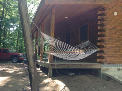 Photo for New Log Cabin On 3 Wooded Acres, Outdoor Shower, Lake Michigan,  Air-Conditioned