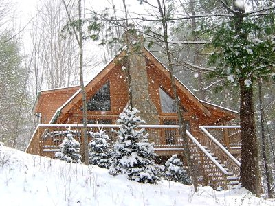 Photo for Stunning Private Log Cabin! ~ Hot Tub, Views, Internet, Fireplace, Air Condition