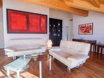 Photo for A truly extraordinary holiday apartment in Garmisch with a special view of the Alps, 3 bedrooms, 2 bathrooms, a sauna, woodburning stove and wine refrigerator, 160 m²