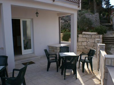 Photo for One bedroom apartment with terrace and sea view Korčula (A-4349-c)