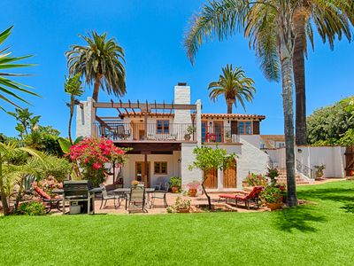 Spanish Villa w/Ocean Views, Sprawling Yard & Steps to Beach