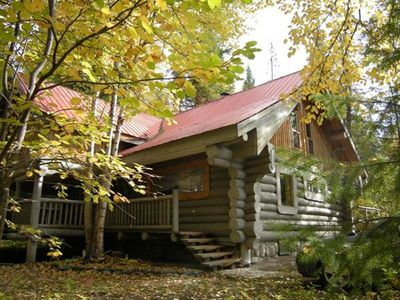 Photo for Escape from urban madness in a beautiful log cabin on Canim Lake