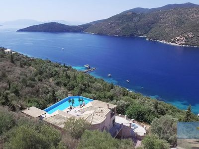 Photo for Lefkada Villa Mikros. Spectacular location & pool. Walk to beach. Mikros Gialos.
