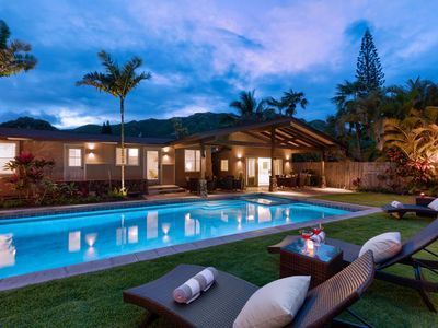 Photo for Hale Mokulua~5 bd w/private pool & spa~Steps to Lanikai Beach~3 living spaces
