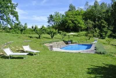 The pool is just a hop and a dip away from the house