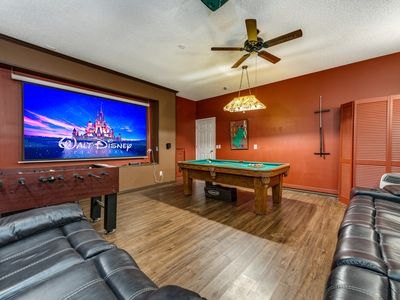 Photo for Amazing villa lake view, no rear neighbors - 3 mi Disney, South pool/spa, Theater room