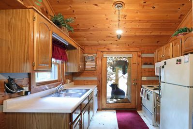 Kitchen with refrigerator, stove, and dishwasher.