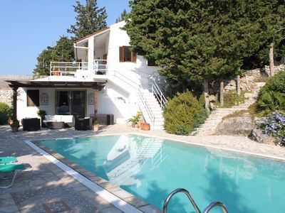 Photo for Spacious villa in extensive private grounds overlooking Ahai bay near Erimitis