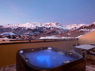 Photo for SKI-IN Split-Level Penthouse with Private Hot Tub on the Balcony!