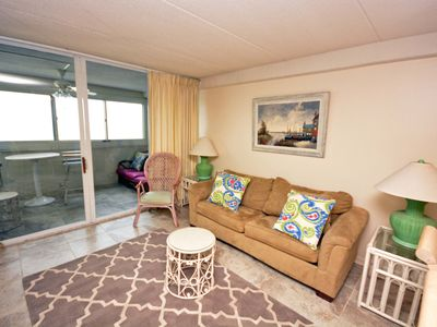 Photo for Cozy, Affordable 3 Bedroom Oceanfront Condo with Outdoor Pool and Enclosed Balconies Located Uptown and Only Steps to Beach!