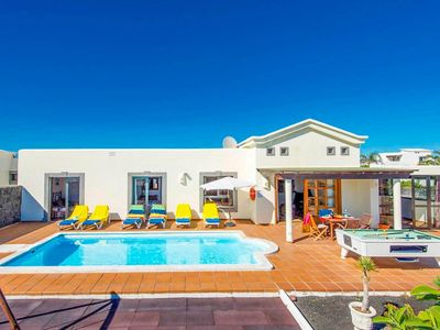 Photo for Villa Calma: Large Heated Private Pool, Walk to Beach, Sea Views, A/C, WiFi