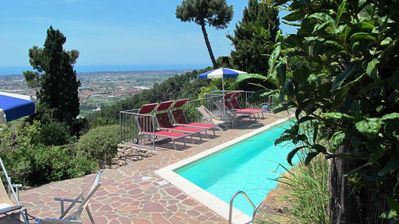 Photo for On a private hill stunning Villa with pool  - amazing view - free wifi