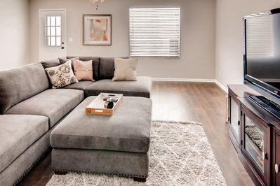Large sectional sofa, LCD TV with Digital Cable