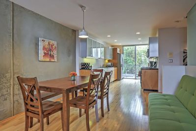 The home boasts 1 bedroom + a loft, and 2.5 bathrooms, accommodating up to 6.