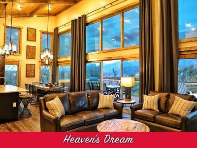 Photo for Brand NEW Contemporary Luxury Cabin! VIEWS! 4 Master Suites, Theater, Fire Pits!