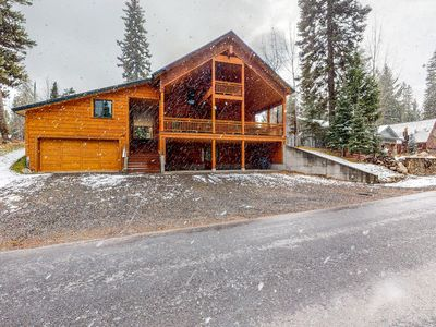 Photo for NEW LISTING! Large log cabin w/mtn views, shared pool, hot tub, tennis, and more