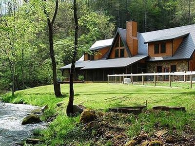 Photo for Luxury Creekside Lodge with Hot Tub & Game Room, Great for Large Groups!