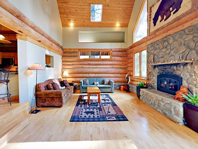 Photo for 4BR Custom, Handmade Log Home Backing US Forest Land - 5 Mins to Heavenly