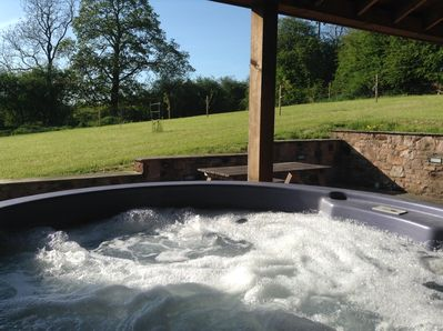 Fantastic Hot Tub! View to newly planted orchard...