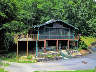 Photo for Creekfront Private 2 bedroom 2 bath cabin with MTN view, firepit,and Hot Tub.