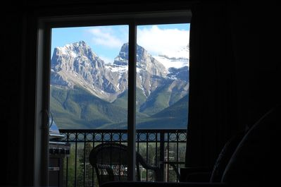 View of 3 Sisters Mountains from the living room.