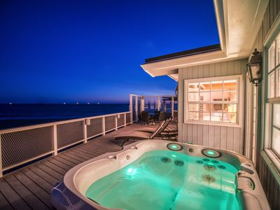 Photo for Direct access to beach, Hot Tub, Two decks, firepit, bbq, Sunsets included.