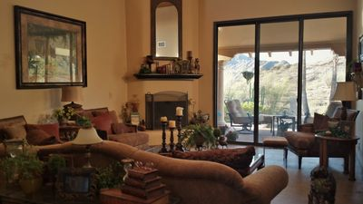 Beautiful living room with stunning views of the mountain scape, just outside