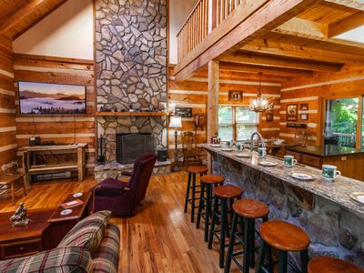 Photo for 4BR/4BA Log Cabin on Seven Devils, Hot Tub, Foosball Table, New Granite Countertops and Kitchen, Good Yard Space, Main Level Master Suite