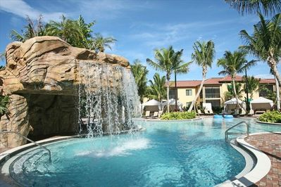 Family pool with water fall