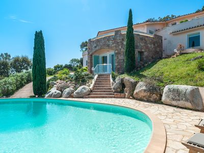 Photo for Beautiful villa with panoramic view on sea and mountain