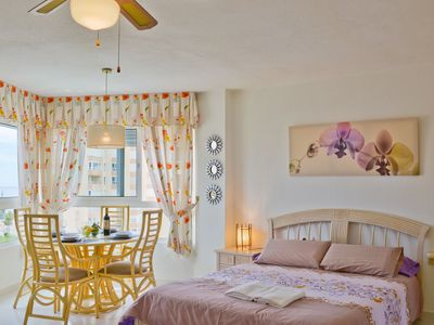 Photo for Elegant Studio Apartment On the Beach with Terrace, Tennis Court and Garden