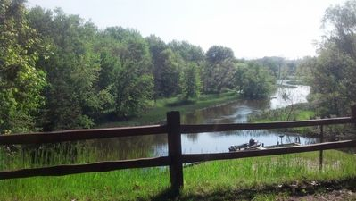 Photo for Beautiful Lodge on the Big Manistee River, with cabins for extended family.