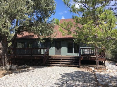 Photo for GORGEOUS VIEWS, ENDLESS SKIES, STARRY NIGHTS, spacious 2BR cabin in the woods
