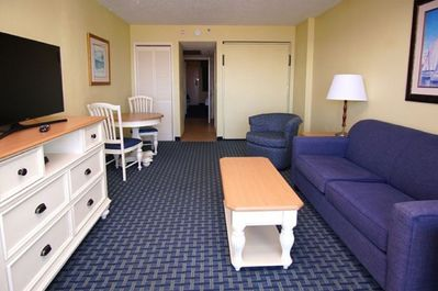 With a sleeper sofa and Murphy bed, this unit will accommodate 8 guests.