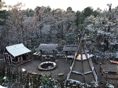 A lovely dusting of snow on the cabin's lower level