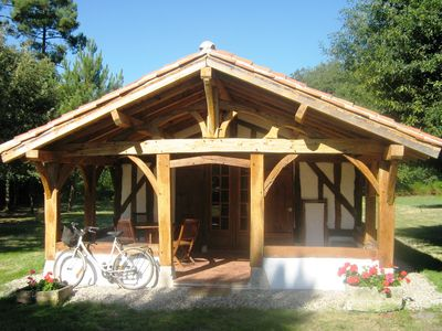 Photo for At the heart of the Landes forest, traditional timbered cottage, 4pers.