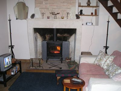 Autumn Log fire in sitting room