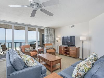 Photo for Waterfront penthouse w/ beach views, shared pool, hot tub, & tennis court